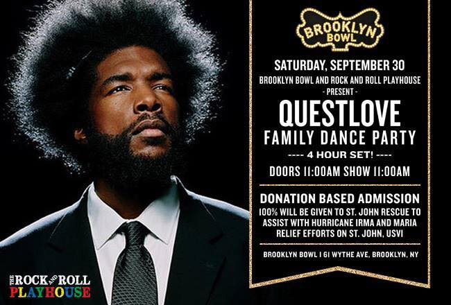Questlove dance party fundraiser for St. John Rescue and Hurricane Irma relief at Brooklyn Bowl in NYC