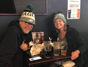 Margie Smith and Steve Holt at Eagles Super Bowl parade party in Hell's Kitchen, NYC